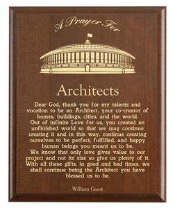 Christian prayer for an architect with industry logo and free personalization. Cherry finish with laser engraved text.