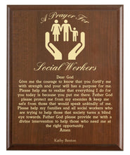 Load image into Gallery viewer, Christian prayer for a social worker with industry logo and free personalization. Cherry finish with laser engraved text.