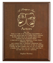 Load image into Gallery viewer, Christian prayer for an actor with industry logo and free personalization. Cherry finish with laser engraved text.