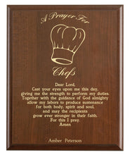 Load image into Gallery viewer, Christian prayer for a chef with industry logo and free personalization. Cherry finish with laser engraved text.