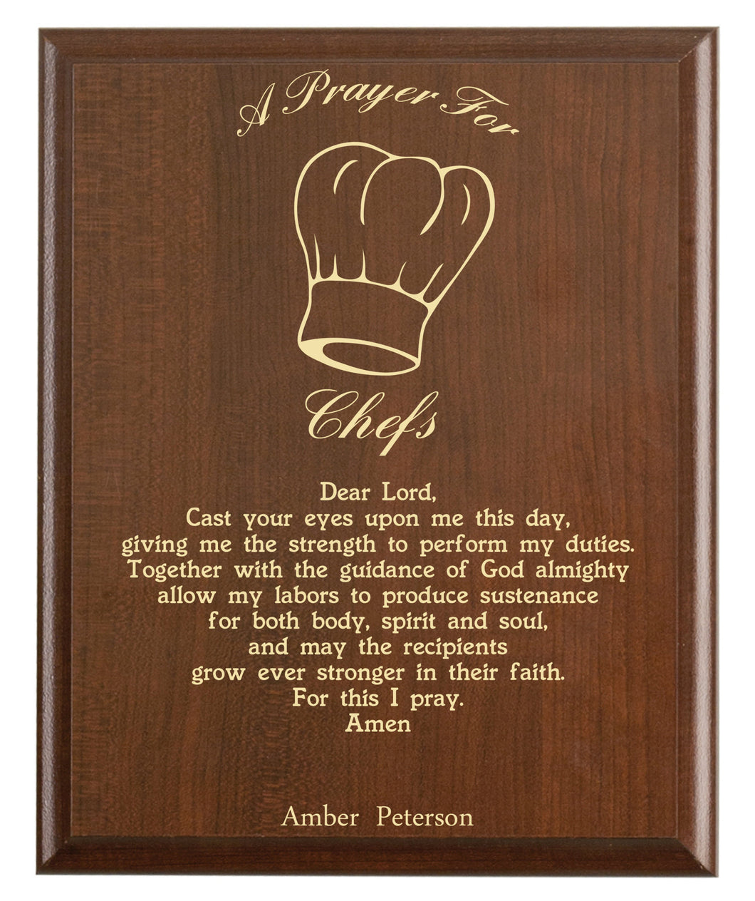 Christian prayer for a chef with industry logo and free personalization. Cherry finish with laser engraved text.