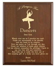Load image into Gallery viewer, Christian prayer for a dancer with industry logo and free personalization. Cherry finish with laser engraved text.