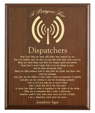 Load image into Gallery viewer, Christian prayer for a dispatcher with industry logo and free personalization. Cherry finish with laser engraved text.