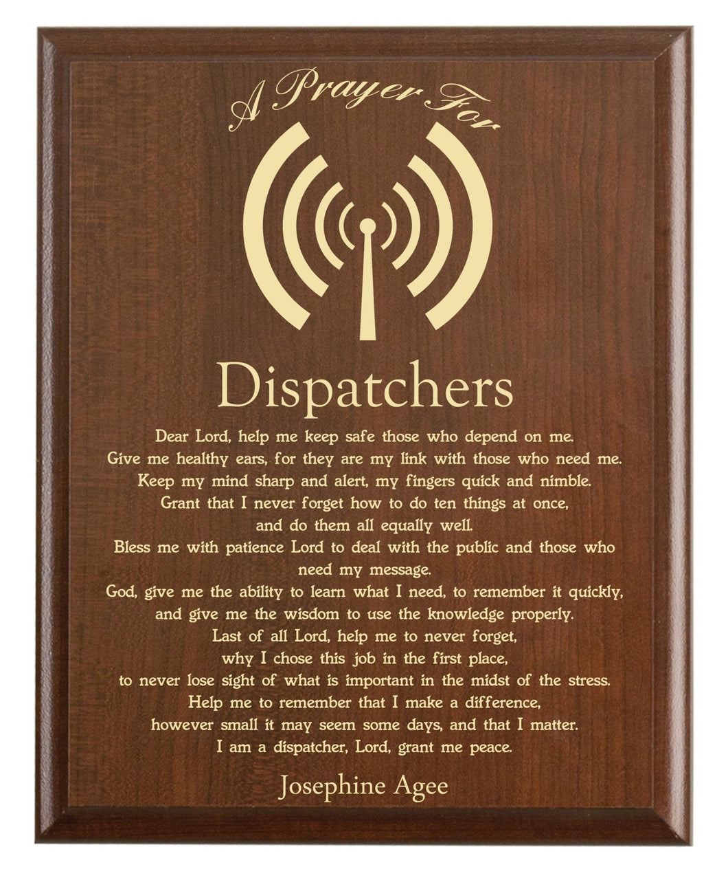 Christian prayer for a dispatcher with industry logo and free personalization. Cherry finish with laser engraved text.
