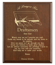 Load image into Gallery viewer, Christian prayer for a draftsman with industry logo and free personalization. Cherry finish with laser engraved text.