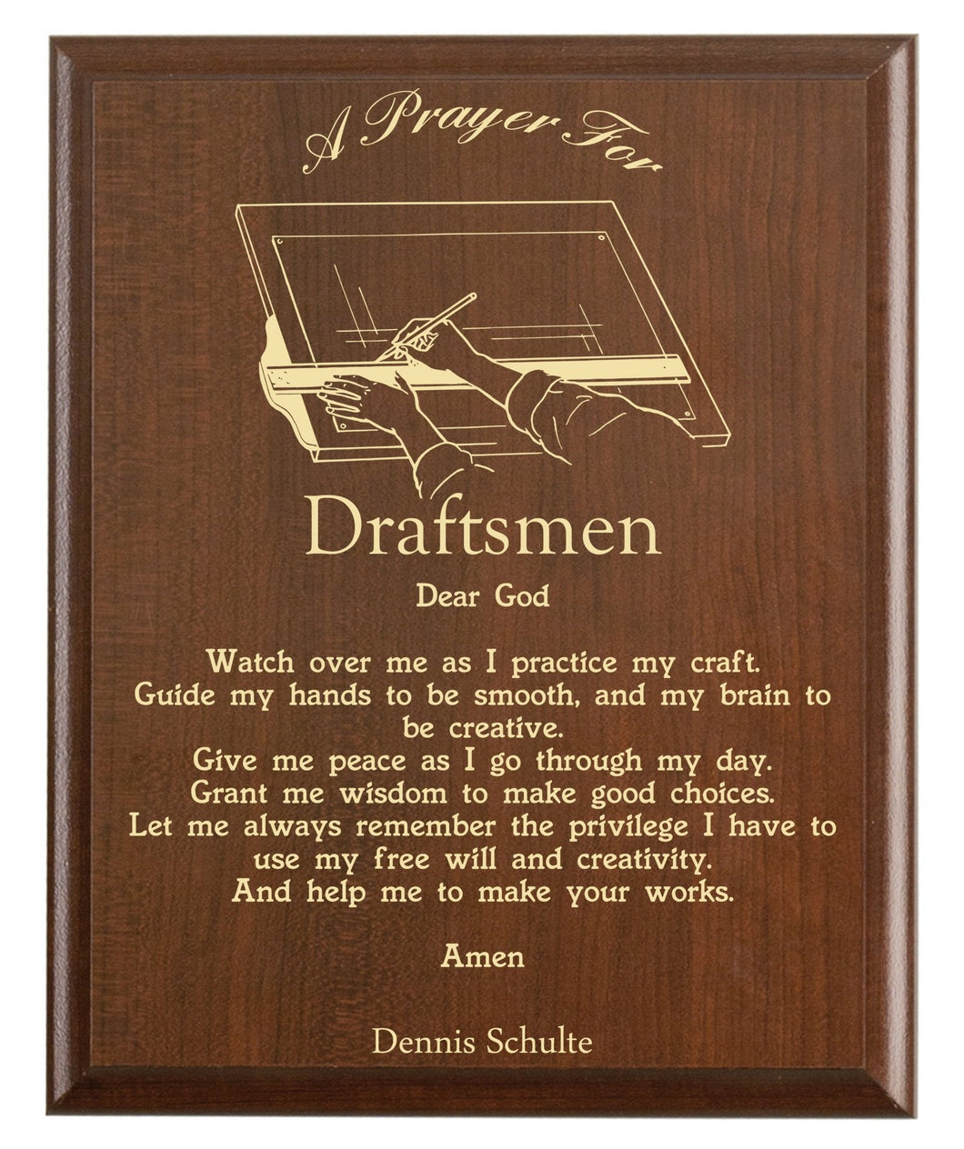 Christian prayer for a draftsman with industry logo and free personalization. Cherry finish with laser engraved text.