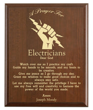 Load image into Gallery viewer, Christian prayer for an electrician with industry logo and free personalization. Cherry finish with laser engraved text.