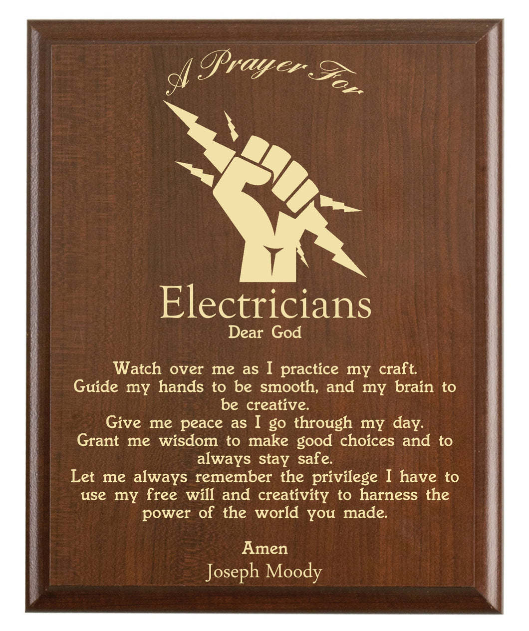 Christian prayer for an electrician with industry logo and free personalization. Cherry finish with laser engraved text.
