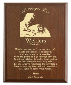 Christian prayer for a welder with industry logo and free personalization. Cherry finish with laser engraved text.