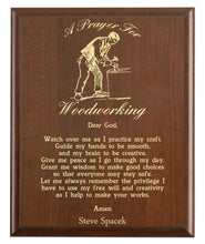 Load image into Gallery viewer, Christian prayer for a woodworking with industry logo and free personalization. Cherry finish with laser engraved text.