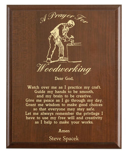 Christian prayer for a woodworking with industry logo and free personalization. Cherry finish with laser engraved text.