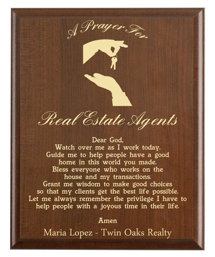 Christian prayer for a real estate agent with industry logo and free personalization. Cherry finish with laser engraved text.