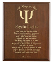Load image into Gallery viewer, Christian prayer for a psychologist with industry logo and free personalization. Cherry finish with laser engraved text.