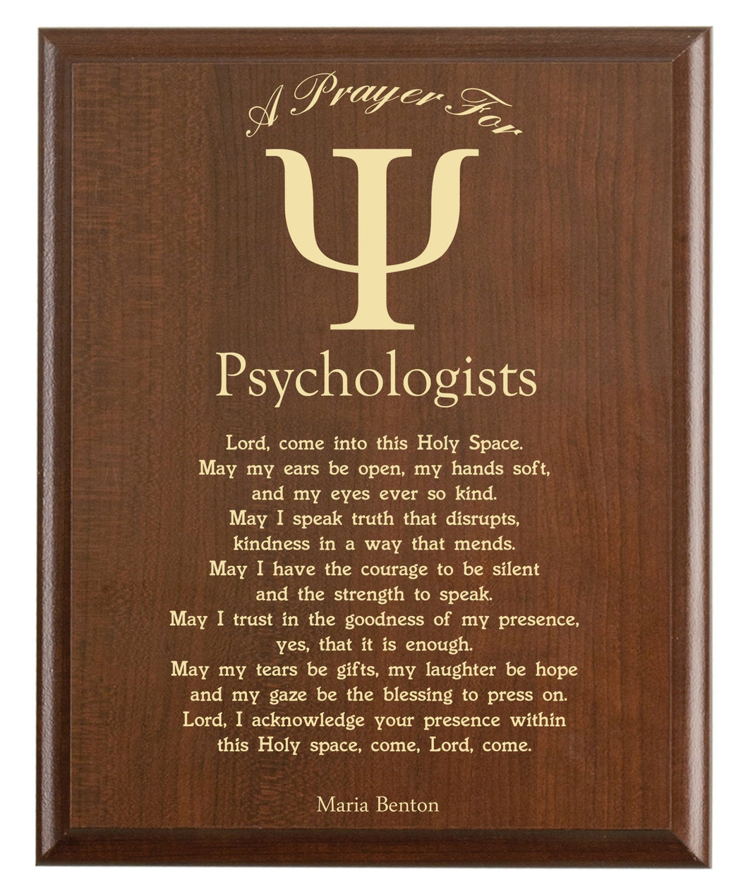 Christian prayer for a psychologist with industry logo and free personalization. Cherry finish with laser engraved text.