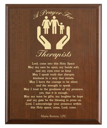 Christian prayer for a therapist with industry logo and free personalization. Cherry finish with laser engraved text.