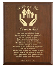Load image into Gallery viewer, Christian prayer for a counselor with industry logo and free personalization. Cherry finish with laser engraved text.