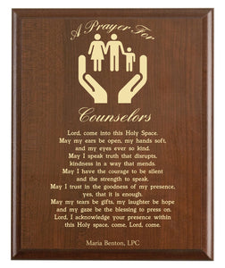 Christian prayer for a counselor with industry logo and free personalization. Cherry finish with laser engraved text.