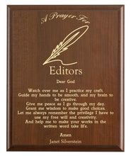 Load image into Gallery viewer, Christian prayer for an editor with industry logo and free personalization. Cherry finish with laser engraved text.