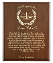 Load image into Gallery viewer, Christian prayer for a law clerk with industry logo and free personalization. Cherry finish with laser engraved text.