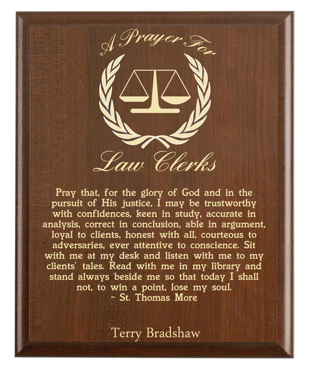 Christian prayer for a law clerk with industry logo and free personalization. Cherry finish with laser engraved text.