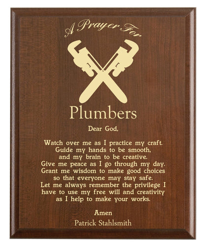 Christian prayer for a plumber with industry logo and free personalization. Cherry finish with laser engraved text.