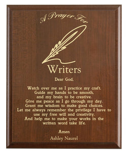 Christian prayer for a writer with industry logo and free personalization. Cherry finish with laser engraved text.