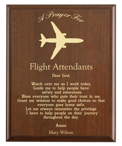 Christian prayer for a flight attendant with industry logo and free personalization. Cherry finish with laser engraved text.