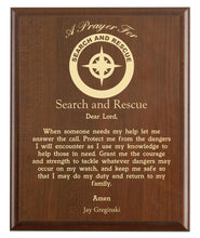 Load image into Gallery viewer, Christian prayer for a search & rescue with industry logo and free personalization. Cherry finish with laser engraved text.