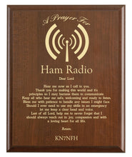 Load image into Gallery viewer, Christian prayer for a ham radio with industry logo and free personalization. Cherry finish with laser engraved text.
