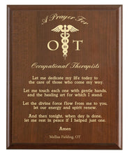 Load image into Gallery viewer, Christian prayer for an occupational therapist with industry logo and free personalization. Cherry finish with laser engraved text.