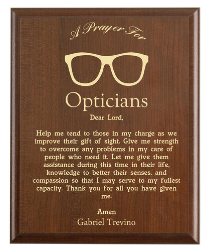 Christian prayer for an optician with industry logo and free personalization. Cherry finish with laser engraved text.