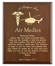 Load image into Gallery viewer, Christian prayer for an air medic with industry logo and free personalization. Cherry finish with laser engraved text.