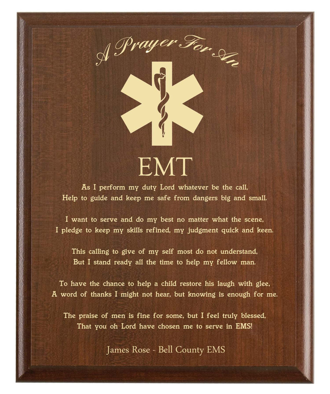 EMT Prayer Plaque