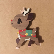 Load image into Gallery viewer, Christmas Reindeer Wooden Pin