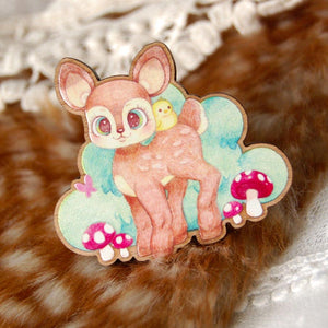 Little Fawn Wooden Brooch