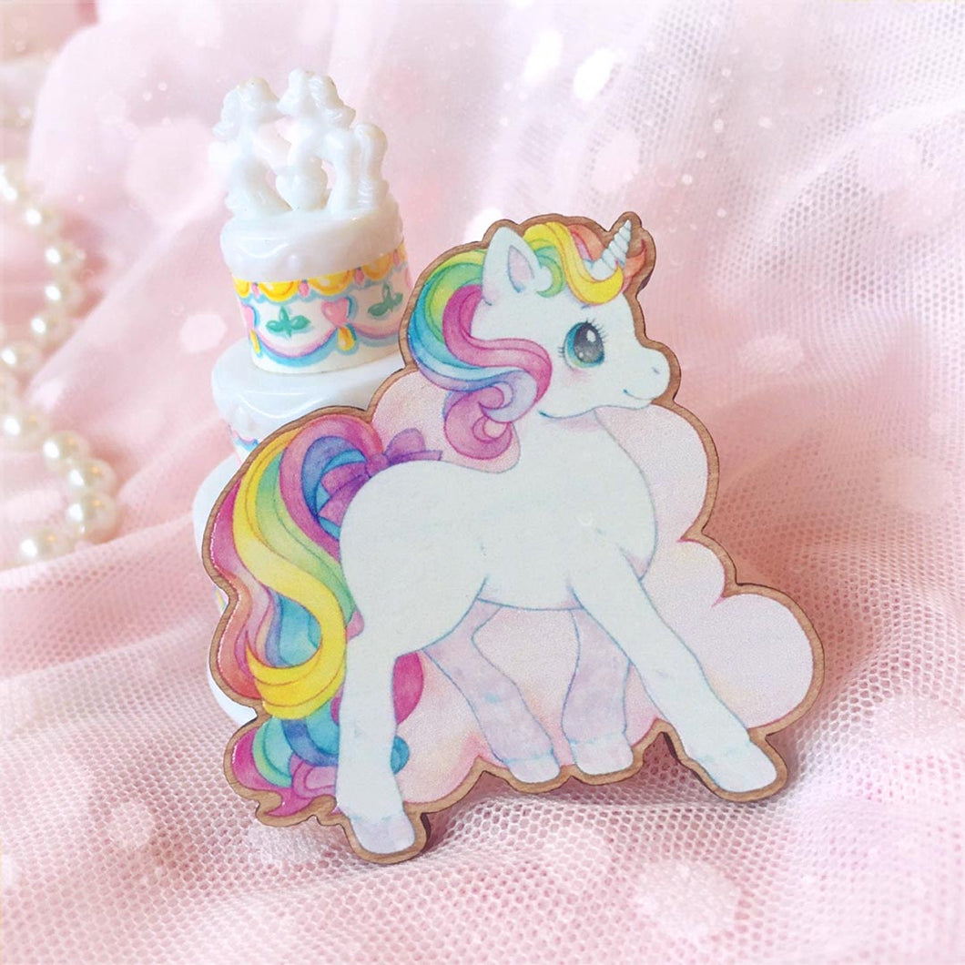 Unicorn Wooden Brooch