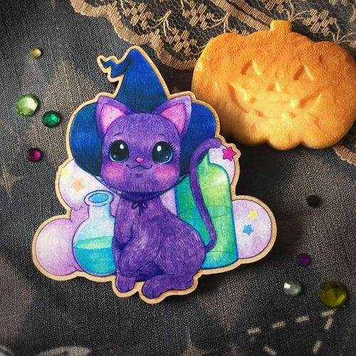 Witch Kitty Wooden Brooch
