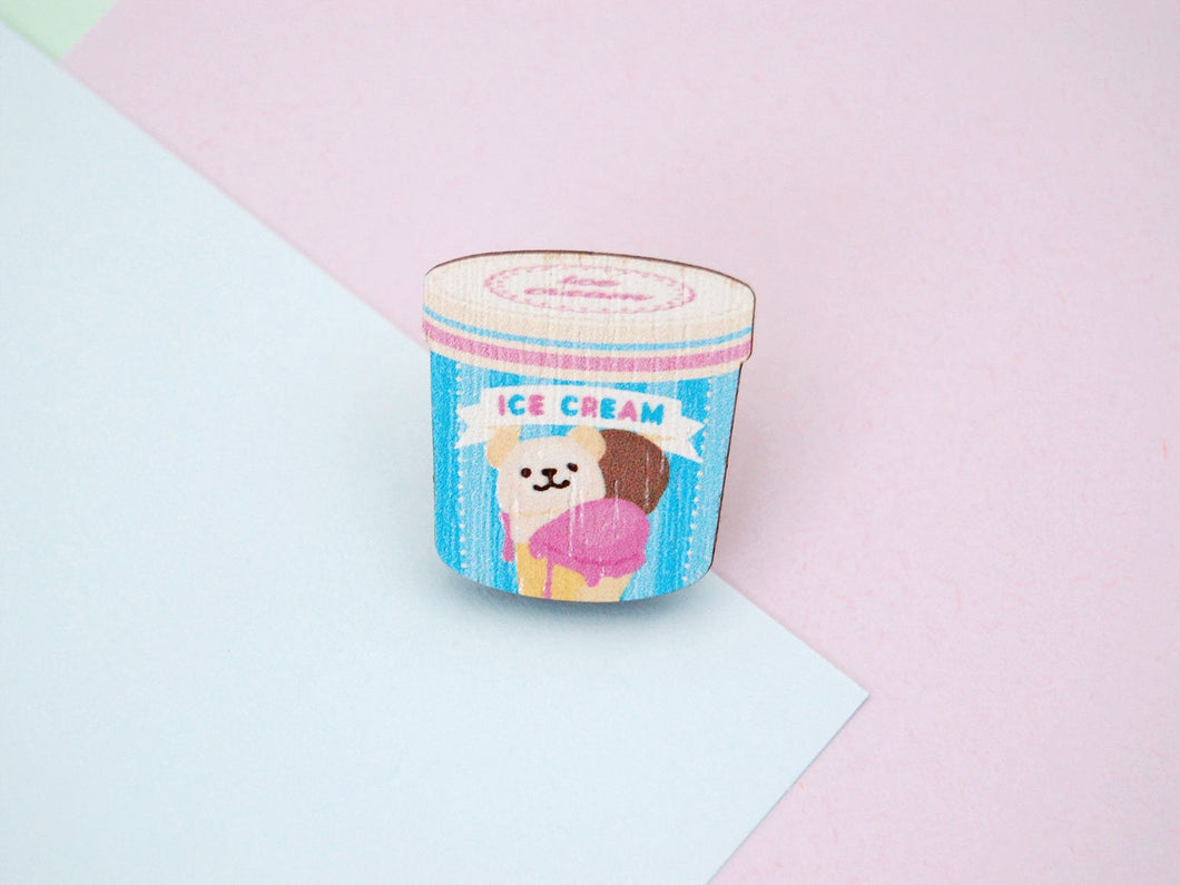 Ice Cream Tub Wooden Pin