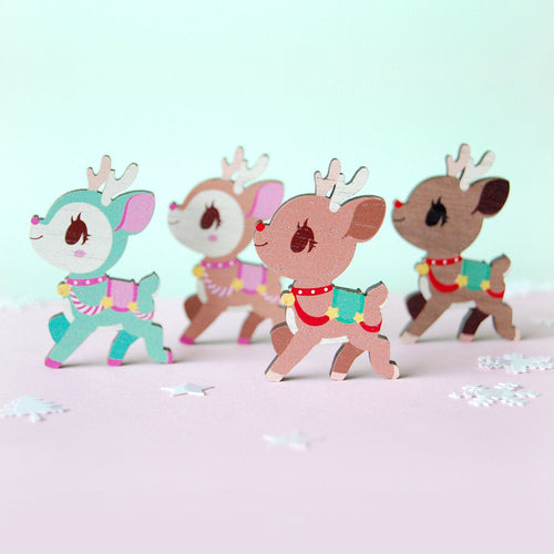 Christmas Reindeer Wooden Pin