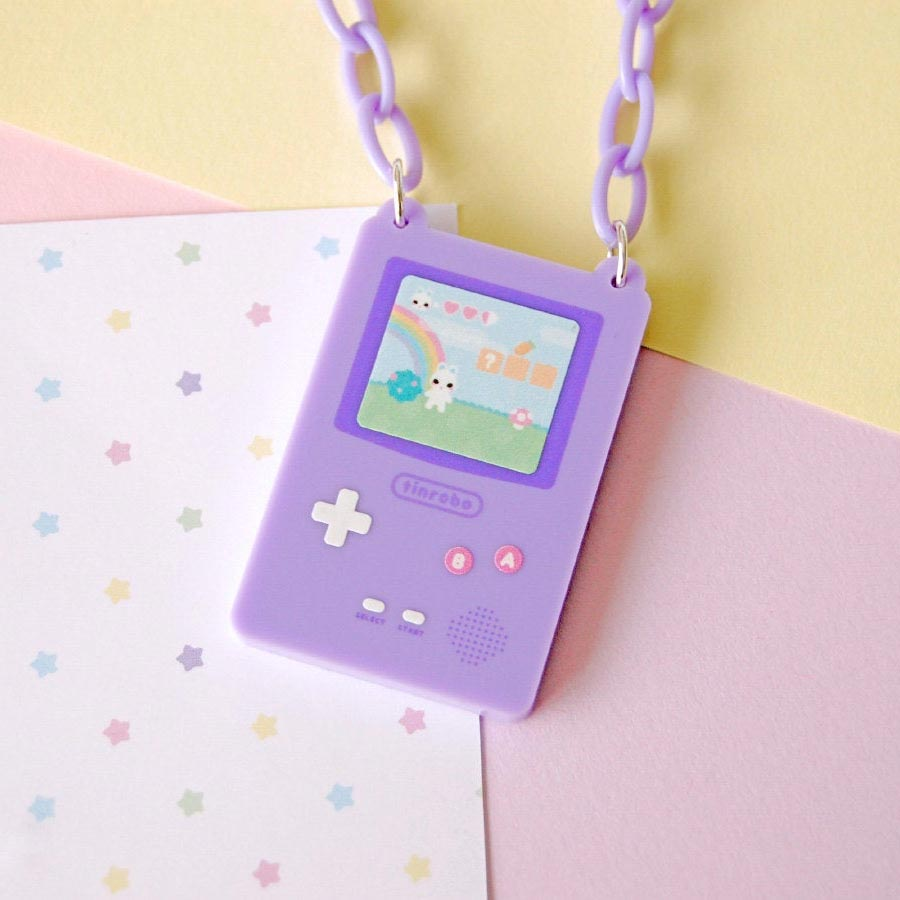Space Bun Adventure Game Necklace (Purple)