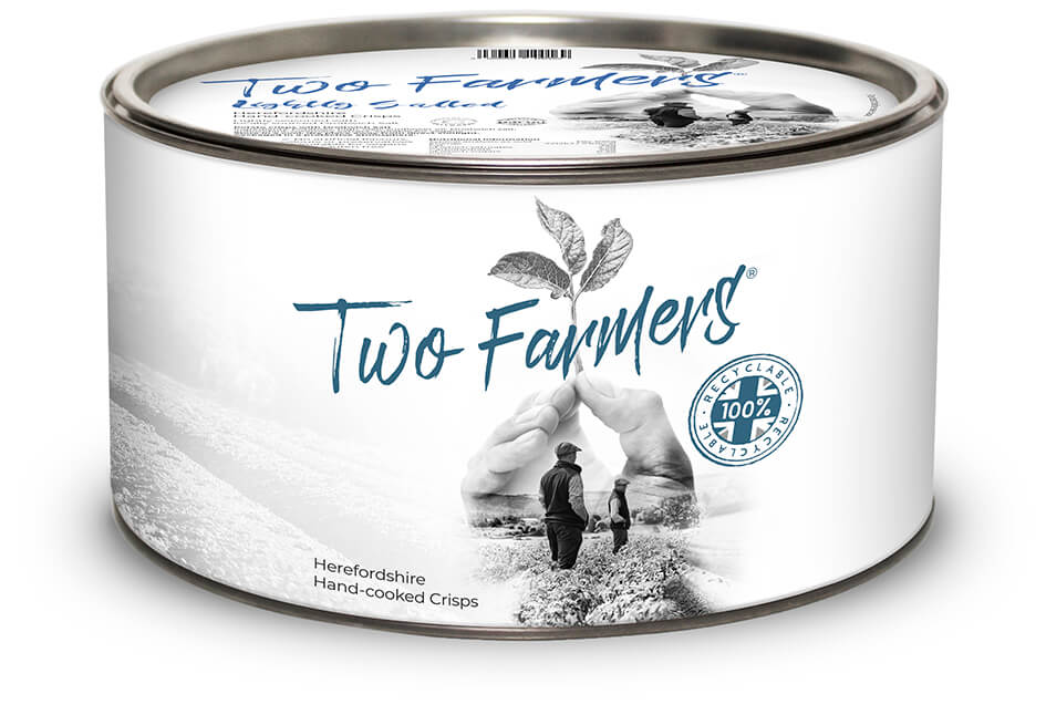 100% Recyclable Lightly Salted Crisps Sharing Tins - Two Farmers Crisps