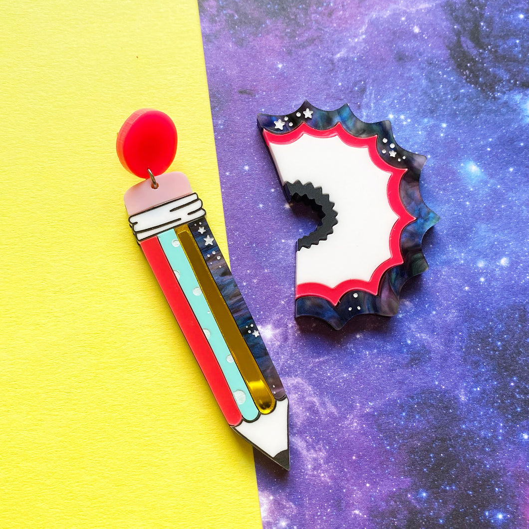 Mismatched Pencil and shaving earrings - Annie's Fingers