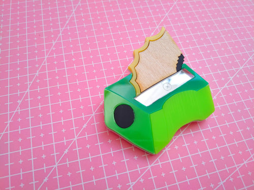 Pencil sharpener brooch - Annie's Fingers