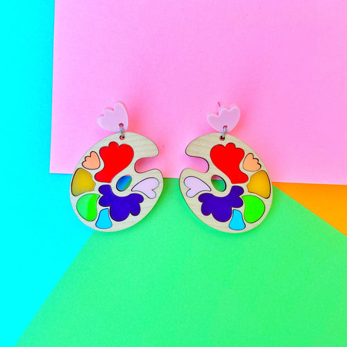 Rainbow paint palette earrings - Annie's Fingers
