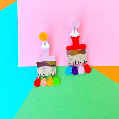 Rainbow paintbrush earrings - Annie's Fingers