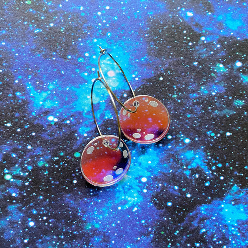 Iridescent moon hoops - Annie's Fingers