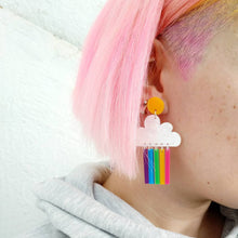 Load image into Gallery viewer, Bright rainbow cloud earrings - Annie's Fingers