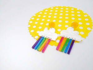 Bright rainbow cloud earrings - Annie's Fingers