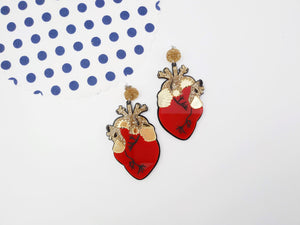 Heart earrings Red - Annie's Fingers