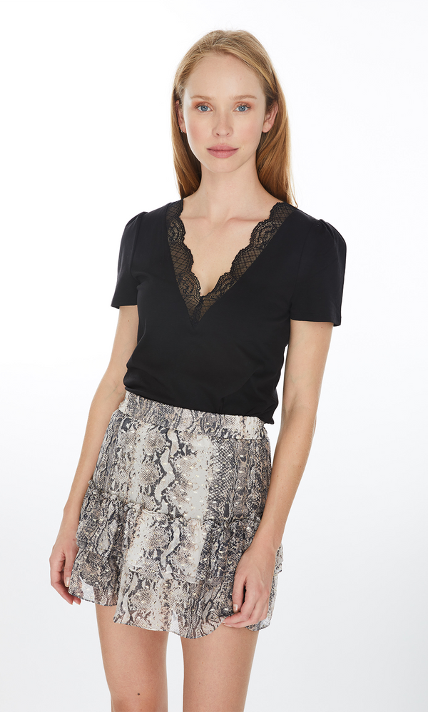 Generation Love Santana Lace Neck Top - Black